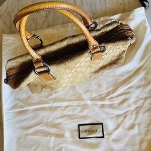 GUCCI tan GG monogram canvas handbag